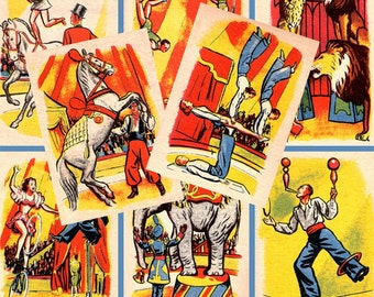 CIRCUS 1940s elephants trapeze clowns ATC 2.5 x 3.5 inch Instant digital Download collage sheet printable 018