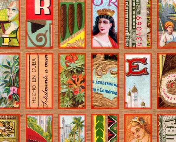 antique Cigar Box labels 1x2 inch Instant Download digital collage sheet 013