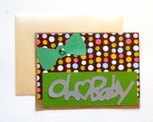 Baby Shower Unisex Greeting Card, Polka Dot, Green Bow, Green Glitter