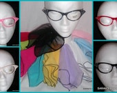 """New 2pc Gift Set 21x21"""" Chiffon Scarf and Cat Eye Glasses Set The Perfect Addition to your Poodle Skirt Outfit"""