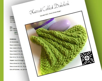 PDF Knitting Pattern for Pretty Cabled Dishcloth