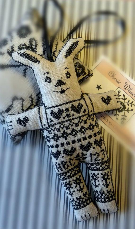 Blackwork Cross stitch Rabbit Ornament