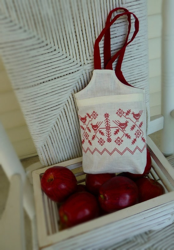 Redwork Linen Lunch Tote