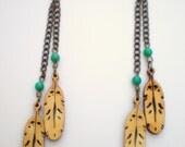 Long Wood Feather Earrings