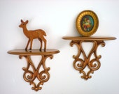 Vintage Wood Shelves--Upcycled Antique Gold