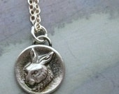 Sterling Silver Rabbit Charm Necklace - Artisan Handmade