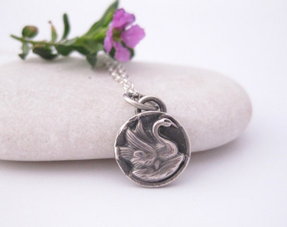Swan necklace charm silver necklace handcrafted
