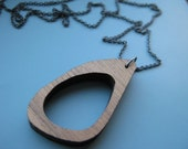 offset oval wood pendant