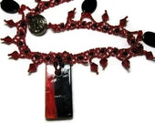 Red Beaded Necklace, Beaded Pendant Necklace, Nite On The Town
