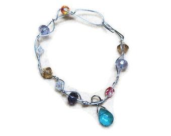 Multicolor Bead  Silver Wirewrap  Bracelet