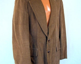 Vintage 60s Jacket Men's 70s Brown Corduroy Classic Hippie Professor Sportscoat Blazer Sears 'The Men's Shop' Label 42 Long 1970s 1960s Coat