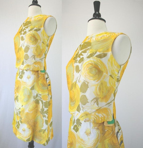 Vintage 60s Dress Set NOS w/ Tags Unworn House of Nine Stanton Jrs. Yellow Floral Chiffon Top Skirt Head Scarf 3 Piece 1960s Dresses