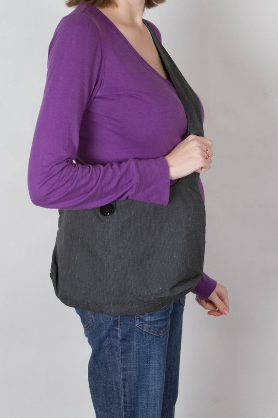 SALE-charcoal and green slouch style messenger bag