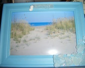 SALE 25% off - summertime wood frame with beach glass and photo