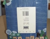 SALE 25% off - MY HERO wood photo frame with etched beach glass