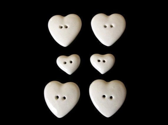 Ceramic Heart Buttons White 6