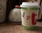 I heart tea cup cozy