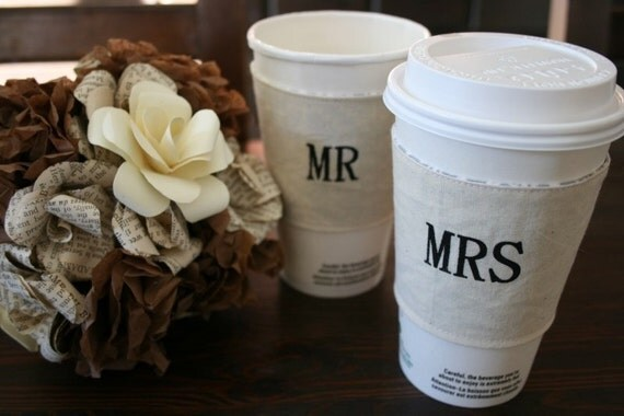 Mr and Mrs matching cup cozies