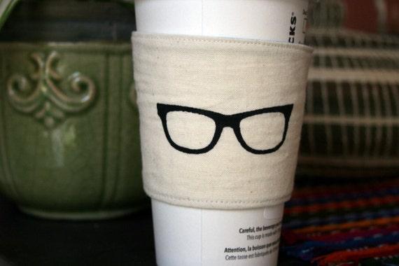 Geeky eye glasses cup cozy