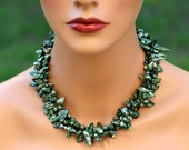 HOLLY JOLLY - 2 strand/ 2 Row Olive Green - Holly Green - Genuine Freshwater Pearl Necklace and 925 Sterling Silver Pearl Earrings Set