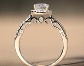 Halo - .85 carat Round - Pave - Antique Style - Diamond Engagement Ring 14K white gold - Luxury- Brides- Engagement
