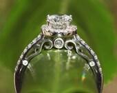 Diamond Engagement Ring 14K white gold - .95 carat Round - Halo - Pave - Antique Style - Luxury- Brides- Engagement