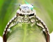 Antique Style - .95 carat Round - Halo - Pave - Diamond Engagement Ring 14K white gold - Luxury- Brides- Engagement
