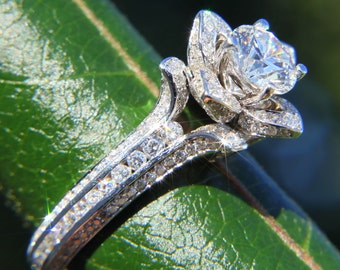 Gorgeous UNIQUE Flower Rose Diamond Engagement Ring - 2.50 carat - 14K white gold - custom made - fl01