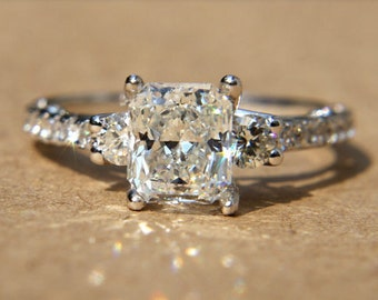 Certified - 1.50 carats - RADIANT cut Diamond Engagement Ring - 14k White gold-  weddings - brides - Bp018