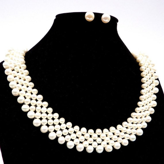 5 Row/ 1 Strand White Freshwater Genuine Pearl Necklace and 925 Sterling Silver Earring SET