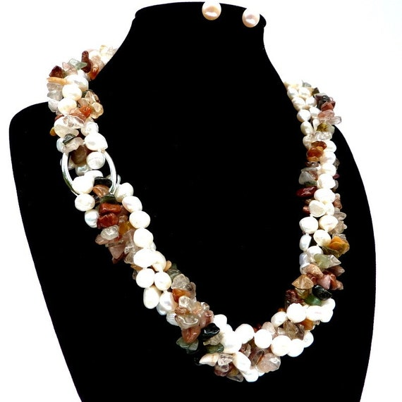 THE TWIST OF LIFE - 2 Strand Genuine Baroque Freshwater Pearl and Multi Stone Necklace and Earrings Set