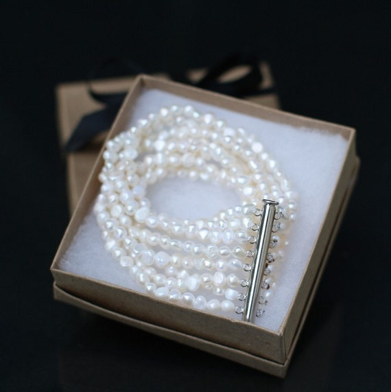 PROMOTION - 8 strand/ 8 row White Genuine Freshwater Pearl BRACELET - Weddings - brides - Bridesmaids - Gifts