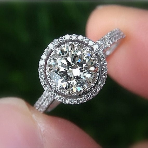 1 00 carat Round Double Halo Pave Antique by BeautifulPetra