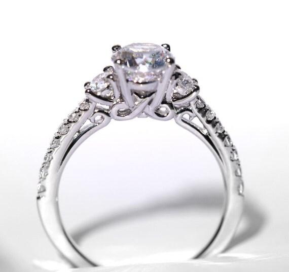 CUSTOM Made - 1.35 carat Round - Pave - 3 stone - Diamond Engagement Ring 14K white gold - Weddings- Luxury- Brides