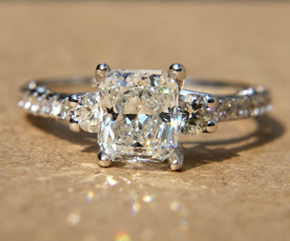 Certified - 1.90 carats - RADIANT cut Diamond Engagement Ring - 14k White gold-  weddings - brides - Bp018