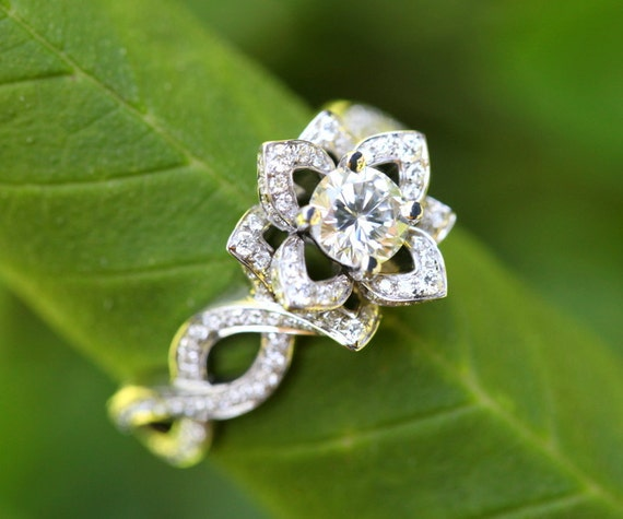 LOVE IN BLOOM - Platinum - Unique Flower Lotus Rose Diamond Engagement or Right Hand Ring - 2.00 carats - fL03