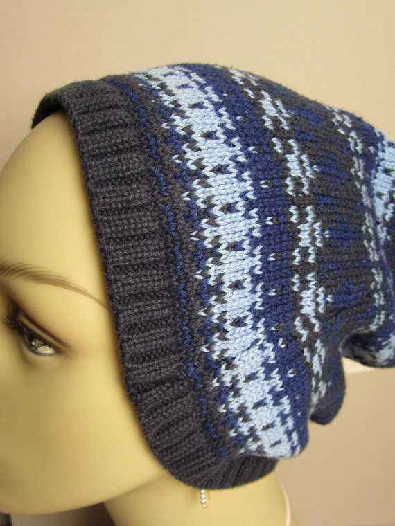 Kreacher Navy and Sky Blue Recycled Sweater Beanie
