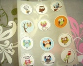 Owl Stickers or Envelope Seals Set of 12