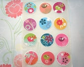 Bird and Flower Stickers or Envelope Seals Set of 12