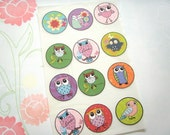 Set of 12 Bright Owls Stickers or Envelope Seals