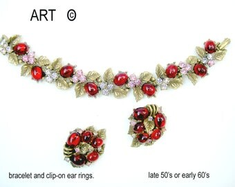 ART signed vintage bracelet and ear clips