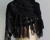 CLEARANCE! Black Shawl / Black Crochet Shawl / Black Wrap Shawl / Black Mohair Shawl / Black Triangle Shawl