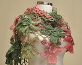 CLEARANCE! Pink Green Flower Shawl