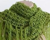 Grass Green Solomon's Knot Triangle Shawl