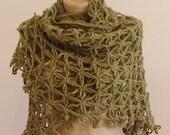 CLEARANCE! Green Anatolia Shawl / Green Crochet Shawl / Green Wrap Shawl / Green Mohair Shawl / Green Triangle Shawl