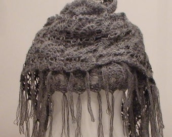 Dark Gray Triangle Shawl with Fringes