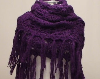 CLEARANCE! Purple Shawl / Purple Crochet Shawl / Purple Wrap Shawl / Purple Knit Shawl / Purple Wedding Shawl with Fringes /  Classic