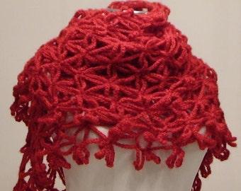 CLEARANCE! Red Anatolia Shawl / Red Crochet Shawl / Red Wrap Shawl / Red Mohair Shawl / Red Triangle Shawl