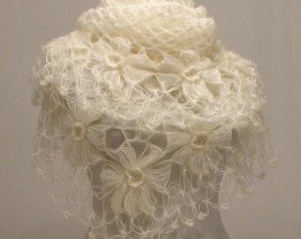 CLEARANCE! Ivory Flower Shawl / Ivory Crochet Shawl / Ivory Wrap Shawl / Ivory Mohair Shawl / Ivory Triangle Shawl