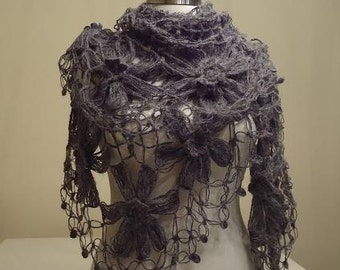 CLEARANCE! Dark Gray Flower Shawl